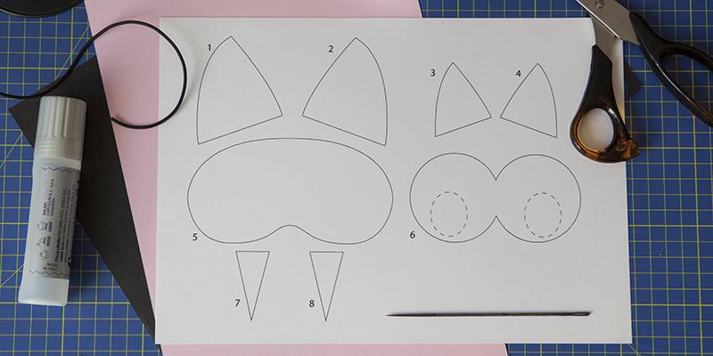 materiale necessario, template, maschera gatto