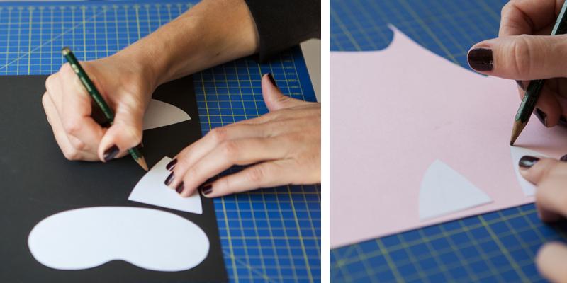 maschera gatto sagome cartoncino diy