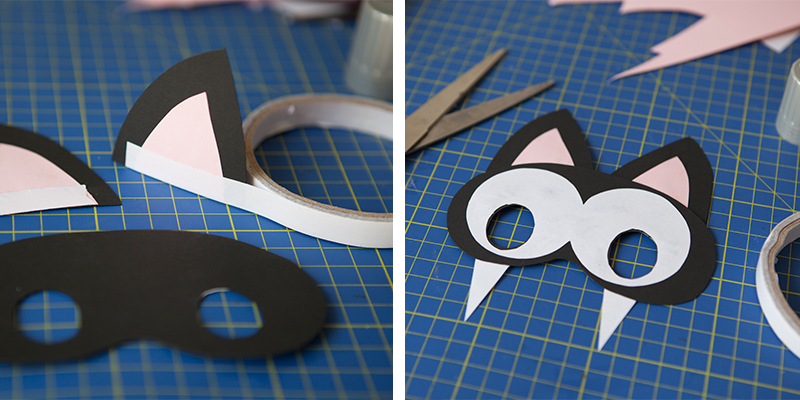 maschera gatto, cat mask, diy, cartoncino